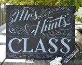 Personalized Teacher Gift - Chalkboard Teacher's Name Sign - Hand Drawn