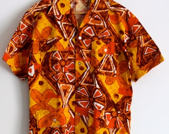 Vintage Hawaiian Jacket Pennys Bark Cloth Shirt Retro Jacket Hawaiian Shirt Cotton Shirts Menswear Gifts for Him Mad Men Mid Century Modern