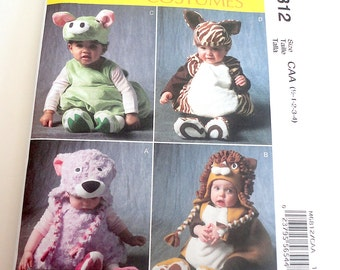 New Uncut Animal Costume Pattern, Baby Toddler Costume McCall's 6812