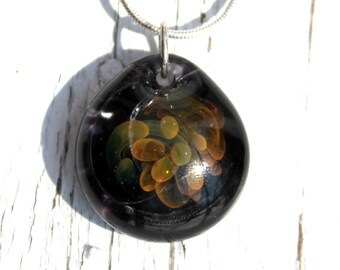 Gold Glass Implosion Pendant, Flamework Lampwork Boro Necklace