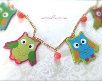 Colorful Owl Statement Necklace. Wood. Rainbow. Gold. Orange. Pink. Blue. Green. Woodland Fun. Whimsical. Unique. Owl Jewelry. Under 25.