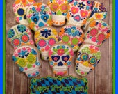 1 Dozen - Day of the Dead Skull - Decorated Cookies