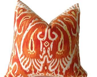 Duralee--Ikat Decorative, Pillows, Throw Pillows, Decorative Throw Pillow Covers  Designer Fabric Orange  Pillows, Ikat Pillows