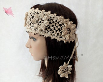 Beige Handmade OOAK Irish Lace 3D Crochet Headband Dreadlock Head Wrap Boho Wooden Beaded Women Ivory Wedding Bridal Cotton Hair Snood