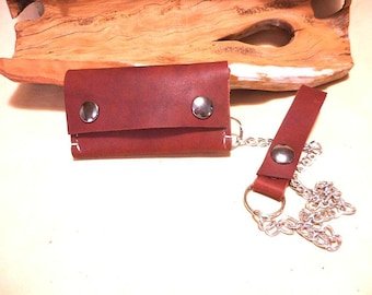 Biker- Trucker Leather Wallet with Chain- Small