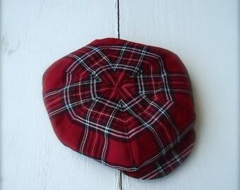 Red plaid Newsboy hat, red newsboy hat, red plaid hat