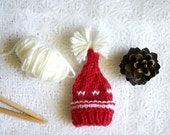 Red Miniature Elf Hat- Hand Knit- Made To Order- Egg Cozy- Doll, Small Pet- Christmas Holiday Decoration