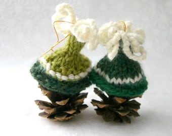 2 Green Miniature Knit Hat Ornaments- Hand Knitted- Tiny Caps- Bell Shaped- Dark Green, Lime Green