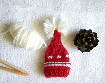 Red Miniature Elf Hat- Hand Knit- Made To Order- Nightcap, Doll, Small Pet- Christmas Holiday Decoration