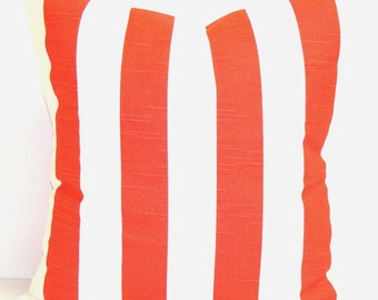 CORAL PILLOW. STRIPED Pillow Cover, Decorative Pillow, Throw Pillow, Pillows, Accent Pillow, Pillow Covers, All Sizes, Coral Euro, Cushion