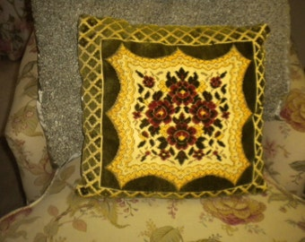Beautiful Vintage Flocked Velvet and Metallic Gold Pillow, French, French Country, Victorian