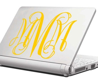 Vine Style Monogram Vinyl Decal / Laptop Decal / Cell Phone Decal / Cell Phone Sticker / Tablet Decal / Sticker / Initials / Girl Decal