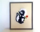 Vintage Embroidered Framed Skunk with Flower 1970's