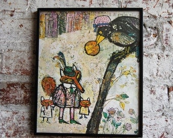 Vintage Children's Illustration Wall Art, Fox and The Crow