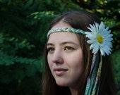 Hippie Sunflower Headband; Stretches for comfortable fit! Handmade Festival Flower Hair Accessory; Coachella, Bonnaroo, Outsidelands, EDC...