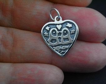 Sterling silver Kissing Penguins Heart Design No 1 - Ooak - hand painted and hand etched - Unique
