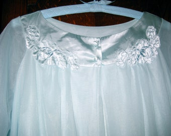 Vintage  60s Gossard Artemis Pale Blue Chiffon Gown and Robe Set size Small