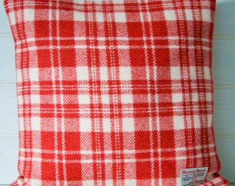 Harris Tweed Cushion Cover Red and White Check -  40cm/16ins size -  Made in the UK