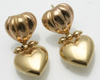 Vintage 14k rose yellow gold double heart earrings posts large Estate