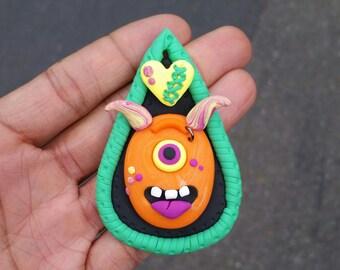 Monster necklace, Orange monester necklace, one eyed monster