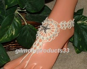 Beaded Barefoot Sandals, Barefoot Sandals, Pearl Barefoot Anklet, Beach Wedding Barefoot Sandals, Footless Sandals, Bridal Foot Jewelry