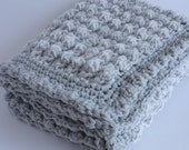Grey and cream handmade extra thickness crochet baby blanket/shawl. Ideal Christening / shower /new baby gift.