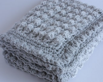 Handmade baby blanket. Grey and cream handmade extra thickness crochet baby blanket/shawl. Ideal Christening / shower /new baby gift.