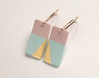 Dangle porcelain earrings- pastel skyblue, pink, 24k gold luster, 14k goldfilled earwires- porcelain jewelry, gift for her