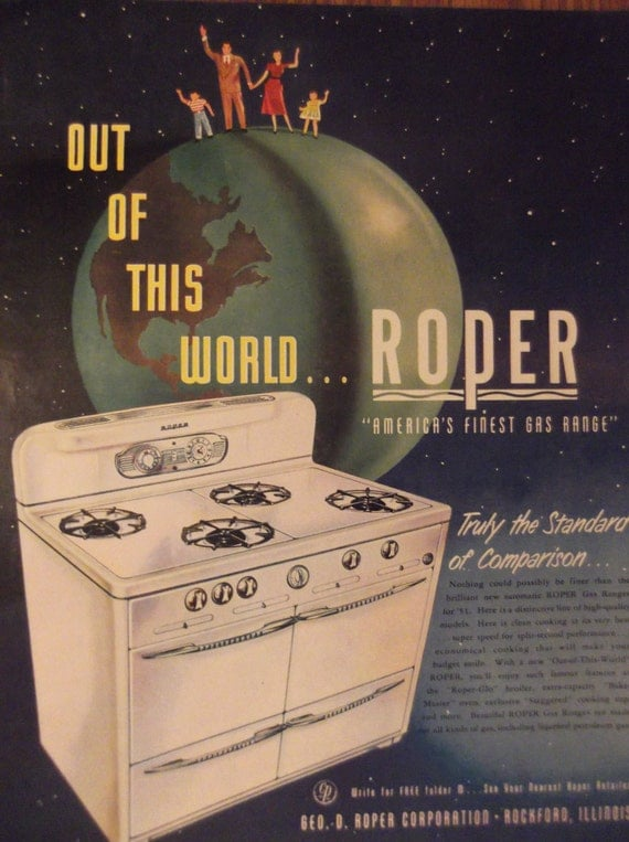 Roper gas range original vintage 1950s magazine advertisement - Range magazine mural ...