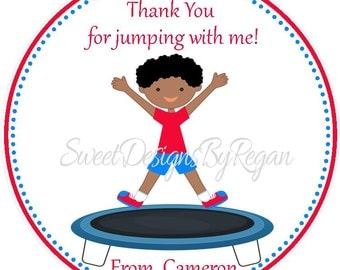 Trampoline Party Favor Tags - African American Designs