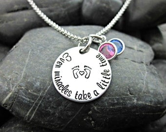 Even Miracles Take a Little Time - Miracles Necklace - Infertility and Adoption Necklace - Waiting