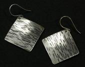 Large Silver Square Earrings, Sterling Silver, Hammered Silver Earrings, Textured Lines, Drop Earrings, Large Earrings