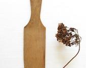 Antique Wood Butter Paddle - Primitive Ridged Hand Butter Churn - Vintage Wood Utensil - Farmhouse Kitchen Decor
