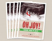 Christmas Photo Card - Baby Sonogram with Santa Hat- Printed or DIY