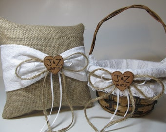 Rustic Flower Girl Basket and Ring Bearer Pillow - Burlap and White Lace - Personalized For Your Special Day