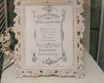 Vintage Frame Pink Painted Roses Romantic Cottage Farmhouse French Country Shabby Chic