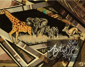 Mixed Media Original Jungle Safari Canvas 11x14