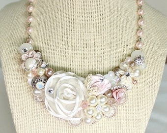 Bridal Bib Necklace- Soft Pink Necklace- Pearl and Rhinestone Necklace- Champagne Pink Necklace-Wedding Necklace- Blush Necklace- Bridal Bib