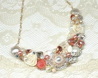 Coral Bridal Necklace- Coral Statement Bib- Salmon Bridal Necklace- Bridesmaid Necklace- Coral Pink Statement Necklace-Peachy Pink Necklace