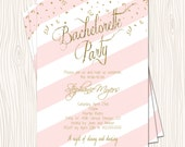 Pink Blush Rose & white Stripe Gold Glitter Baby Wedding Bridal Shower Bachelorette Party Invitation Card - Any Color