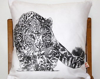 African Leopard Hand block printed decorative scatter cushion cover in white