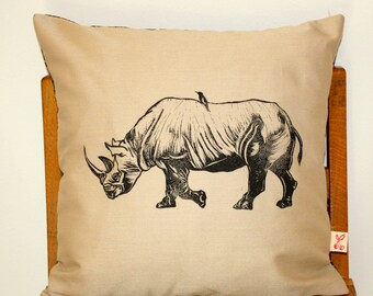 African Rhino Hand block printed decorative scatter cushion cover in sand beige with Shweshwe backing