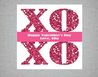 Personalized Glitter XOXO Valentine's Day Stickers/Tags