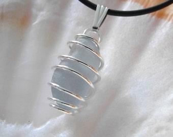 Blue Grey Sea Glass Pendant,  Sterling Wire Wrap, Genuine Sea Glass, Caged Sea Glass, Mystical Moon Designs, Silver Sea Glass Necklace