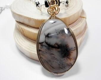 Dendritic Agate Pendant, Merlinite Necklace, Natural Dendritic Cabochon, Merlinite Pendant, Black and White Pendant, Mystical Moon