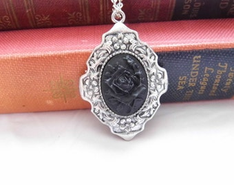 Gothic Black rose on black - Halloween Costume Necklace Cameo Pendant
