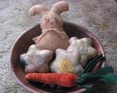 Bunny, spring flowers, carrot, Easter, bowl fillers, spring, primitive Easter