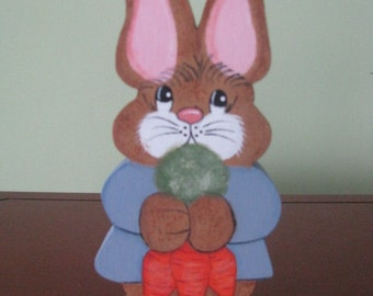Bunny, Easter, shelf sitter, home decor, hostess gift, carrots, handpainted, Easter decor, spring decor