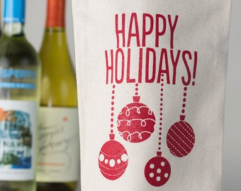 Happy Holidays Canvas Reusable Wine Bag