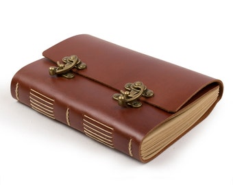 Vintage Leather Journal Diary Guestbook with Cool Lock Blank Lined Craft Paper Handmade Red Brown A5 with Gift Box